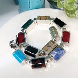 Mexico Sterling Silver Inlaid Gemstone Bracelet